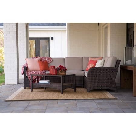 5pc Jackson All-Weather Wicker Corner Sectional Tan - Leisure Made