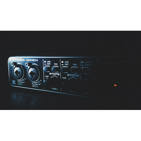 Canvas Print Recording Studio Audio Interface Card of Sound Audio Stretched Canvas 32 x