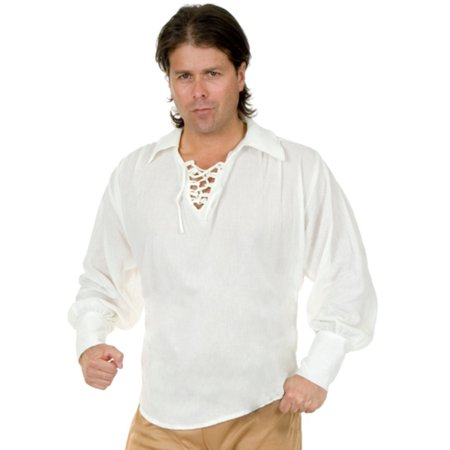 Adult Unisex Pirate Or Colonial White Lace Up Costume Shirt