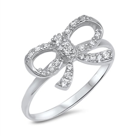 Clear CZ Ribbon Present Baby Gift Ring New .925 Sterling Silver Band Size 10