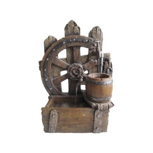 Beckett Wood Wagon Wheel Fountain