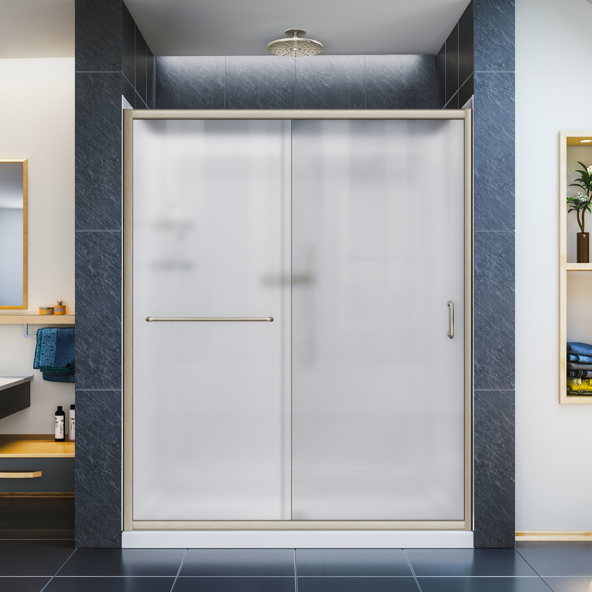 DreamLine Infinity-Z 34 in. D x 60 in. W x 76 3/4 in. H Frosted Sliding Shower Door in Brushed Nickel, Left Drain Base, Backwalls