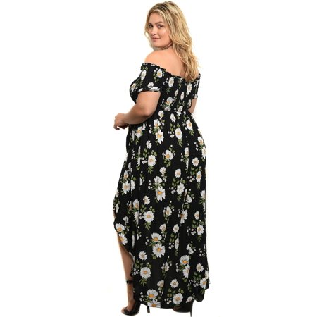 Plus Size Floral Daisy Off The Shoulder High Low Womens Maxi Dress - (Plus Size Off The Shoulder Maxi Dress)