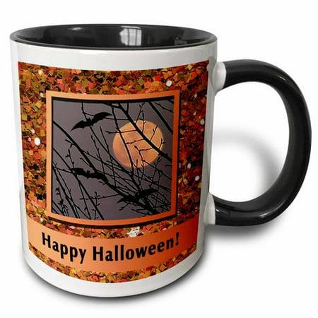 3dRose Bats Flying Around Harvest Moon in Glitter Look Frame Happy Halloween Coffee Mug