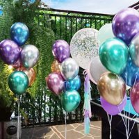 Chrome Metallic Balloons for Parties 12 inch 50 Pcs Thick Latex balloons for Birthday Wedding Engagement Anniversary Christmas Festival Picnic or Any Family Party Decorations Supplies