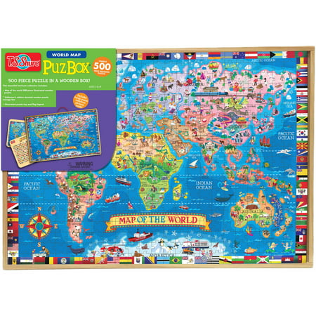 T.S. Shure Map of the World Wooden Puzzle, 500 (500 Piece Map)
