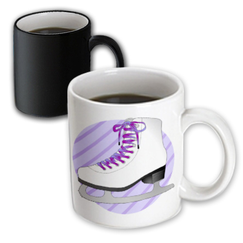 3dRose Figure Skating Gifts - Purple Ice Skate on Stripes, Magic Transforming Mug, 11oz