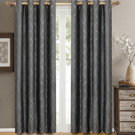 Pair Laguna Jacquard Grommet Top Window Curtain Panels Swirl Patterned ( Set of 2) - 104x63 - Steel ()