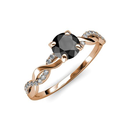 Black and White Diamond Infinity Engagement Ring 1.31 ct tw in 14K Rose Gold