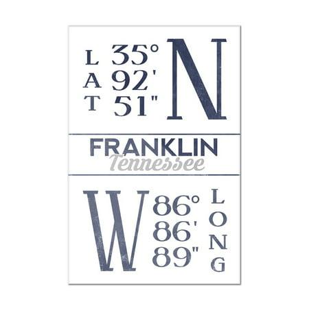 Franklin, Tennessee - Established Date (Blue) - Lantern Press Artwork (8x12 Acrylic Wall Art Gallery (Acrylic Artwork)