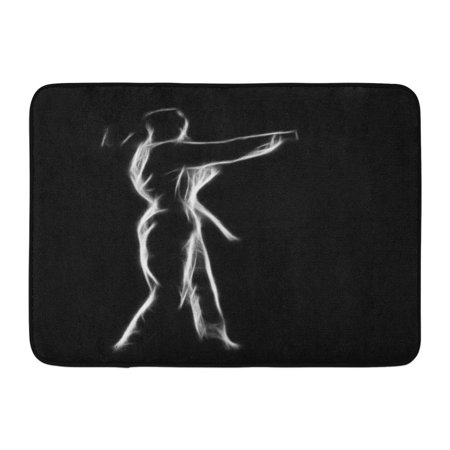 KDAGR Fractal Full Length Silhouette Portrait of Beautiful Martial Arts Girl in Kimono Excercising Karate Kata Doormat Floor Rug Bath Mat 23.6x15.7
