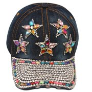 womens Dark Blue Denim Gemstone Studded Star Appliques Cap Sun Hat