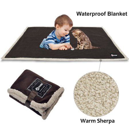 Waterproof Dog Blanket, Small Medium Pet Puppy Cat Fleece Sherpa Throws Cushion Mat for Couch Sofa Bed Car Seat Furniture Protector Cover 50' x 30' by Pawsse (Dog Blanket For Car)