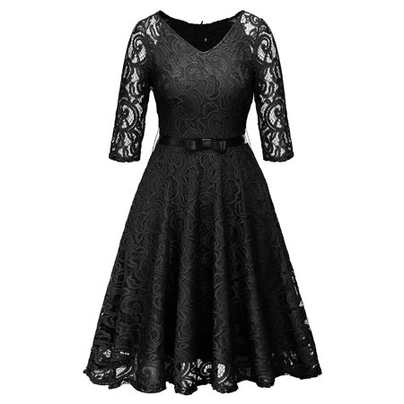 Women Lace Vintage V Neck Formal Wedding Bridesmaid Cocktail Evening Party Swing Dress