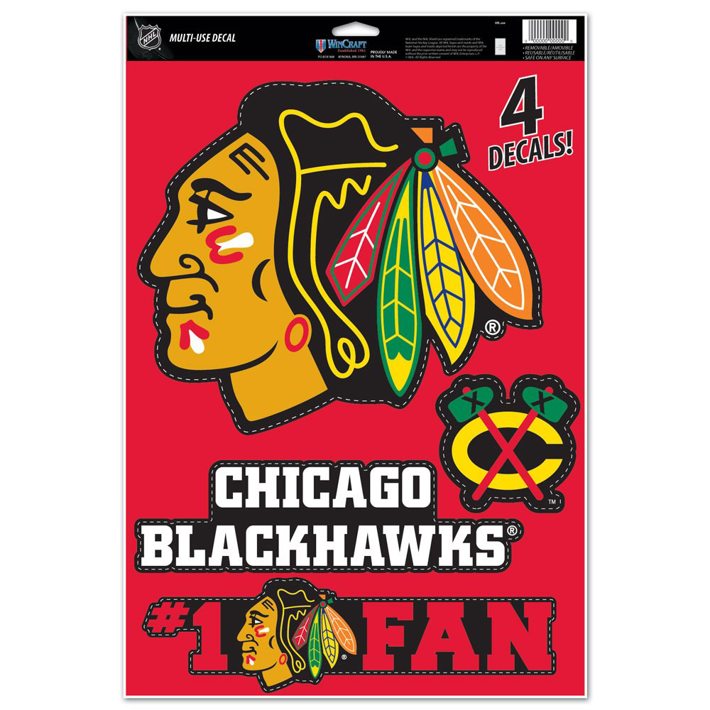 "Chicago Blackhawks WinCraft #1 Fan 11"" x 17"" Multi-Use Decal Sheet - No Size"
