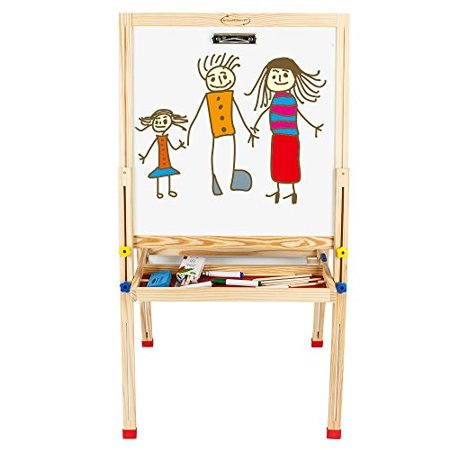 Showmaven Toddler Art Easel For Kids Childrens Double Sided Painting Easel Stand Preschool Stand Up Wooden Drawing Easel Chalk
