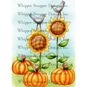 "Whipper Snapper Cling Stamp 4""X6""-Fall Sunflowers"