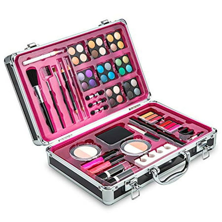 Vokai Makeup Kit Set - 32 Eye Shadows 6 Lip Glosses 2 Lip Gloss Wands 2 Lipsticks 1 Face Powder Duo 1 Blush Powder Duo 1 Mascara - Case with Carrying Handle - Dark Shadows Halloween Makeup