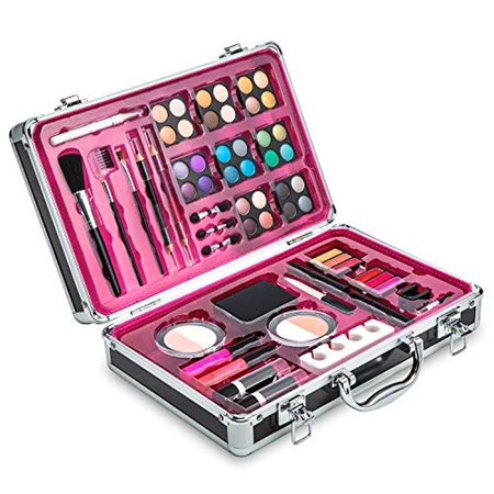 Vokai Makeup Kit Set - 32 Eye Shadows 6 Lip Glosses 2 Lip Gloss Wands 2 Lipsticks 1 Face Powder Duo 1 Blush Powder Duo 1 Mascara - Case with - Neck Wound Halloween Makeup