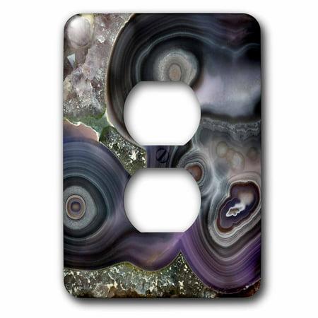 3dRose Purple Banded Agate, Quartzsite - 2 Plug Outlet Cover