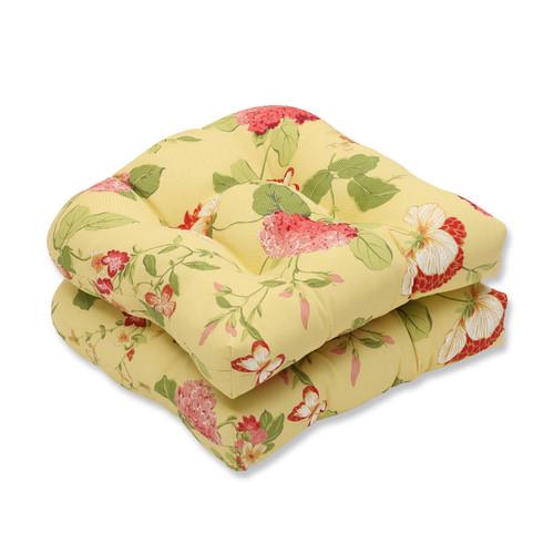 Pillow Perfect Outdoor/ Indoor Risa Lemonade Wicker Seat Cushion (Set of 2)