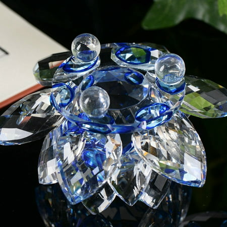 - Lotus Crystal Glass Figure Paperweight Ornament Feng Shui Decor Collection