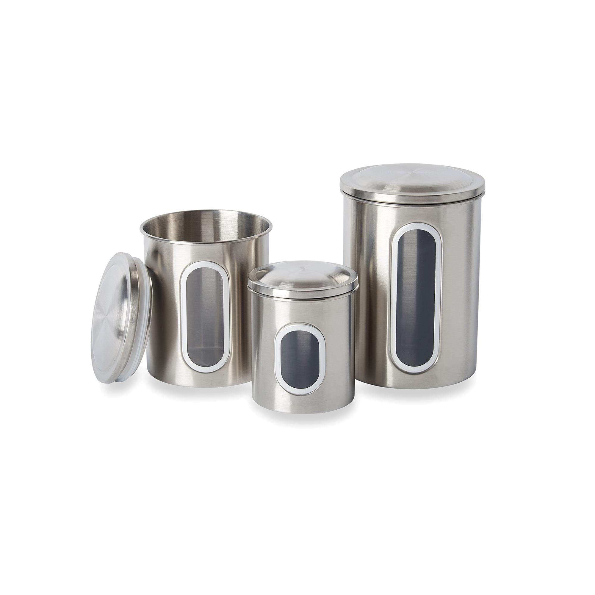stainless steel canister set 3 piece. Black Bedroom Furniture Sets. Home Design Ideas