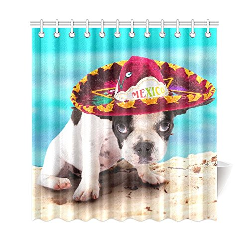 GCKG Summer Beach Shower Curtain French Bulldog Puppy In