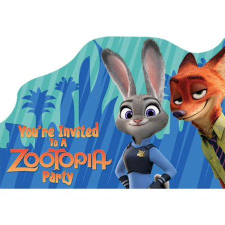 Zootopia Postcard Birthday Party Invitations 8 Count Party – Party Invitations Walmart