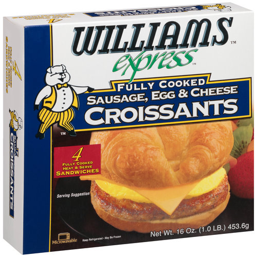 Williams Express Fully Cooked Sausage, Egg & Cheese Croissants, 4 count, 16 oz