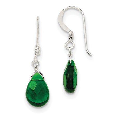 Sterling Silver Dark Green Crystal Dangle Earrings 0.58grams (L 28mm W 9mm)Sterling silver   Crystal   Shepherd hook   Dangle   Green