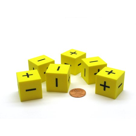 Pack of 6 25mm D6 Square Foam Dice Add Subtract Operations - Yellow with Black