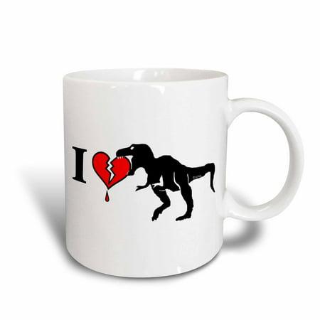 3dRose Dinosaur Eats Heart, Ceramic Mug, 11-ounce - Dinosaur Mug