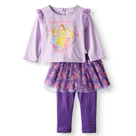 Breeze Outfit - Ruffle Sleeve Long Sleeve Top & Skeggings, 2-Piece Outfit Set (Baby Girls)