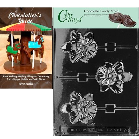 Candy Orchid (Cybrtrayd Orchid Lolly Chocolate Candy Mold with Our Chocolatier's Guide Instructions Manual)