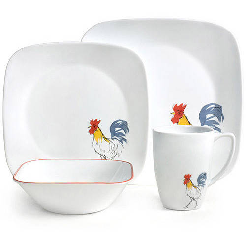 Corelle 32-Piece Squares Country Dawn Dinnerware Set  sc 1 st  Walmart & Rooster Dinnerware