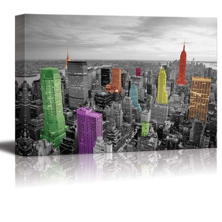 wall26 Black and White Photograph with Pops of Color on Some of the Buildings in New York - Canvas Art Home Decor - 24x36 inches