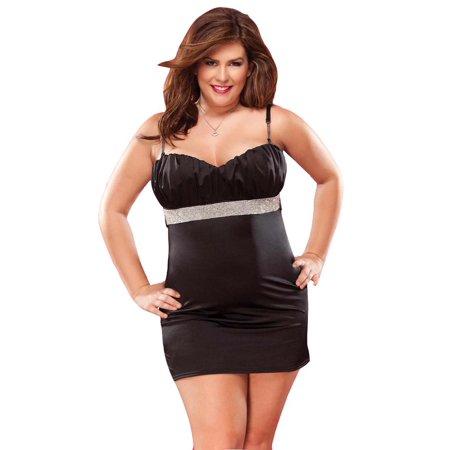 Coquette Plus Size Lingerie Sexy Rhinestone Trim Dress Walmart