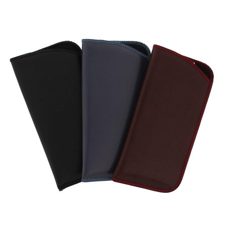 3 Pack Assortment, Soft Faux Leather Slip In Eyeglass Case Pouch, Fits Medium to Large Frames, In Black, Burgundy, and Gray ()