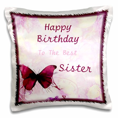 3dRose Image of Happy Birthday Best Sister With Butterflies - Pillow Case, 16 by 16-inch