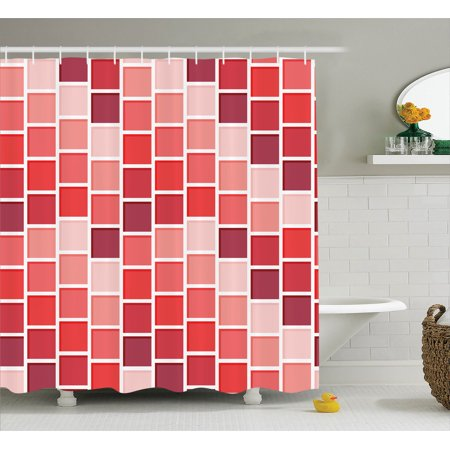 House Decor  Tile Rectangle Square Cube Vertical Lines Geometrical Shapes Periodic, Bathroom Accessories, 69W X 84L Inches Extra Long, By Ambesonne