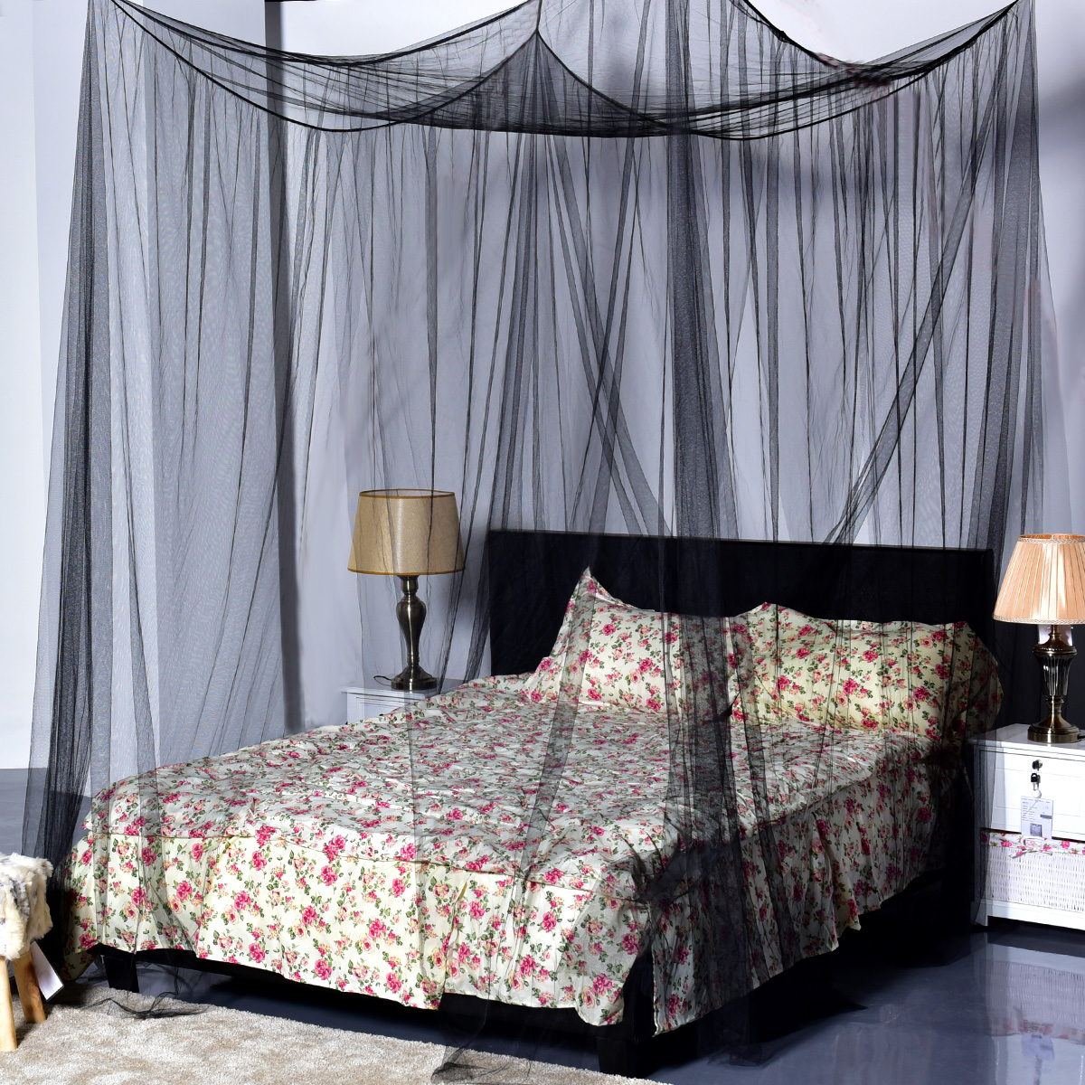4 Corner Post Bed Canopy Mosquito Net Full Queen King Size Netting Bedding Black : king size bed canopy - memphite.com