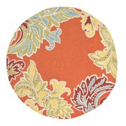 Liora Manne Ravella Ornamental Leaf Border Orange Indoor/Outdoor Area Rug