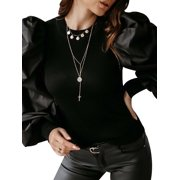 Qcuber Womens Puff Sleeve Patchwork Ribbed Cuff Slim Fit Party Blouse Pullover Top