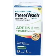 PreserVision AREDS 2 Plus Multivitamin Vitamin and Mineral Supplement, Soft Gels, 80 Count