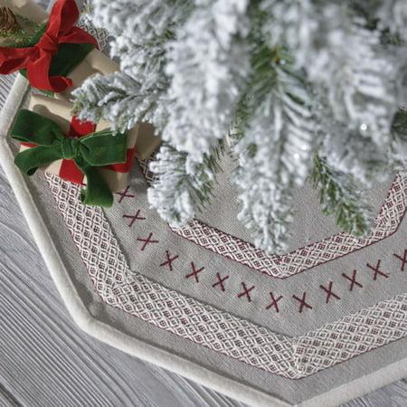 Pebble Grey Traditional Christmas Decor Liv Felt Appliqued Canvas Tree