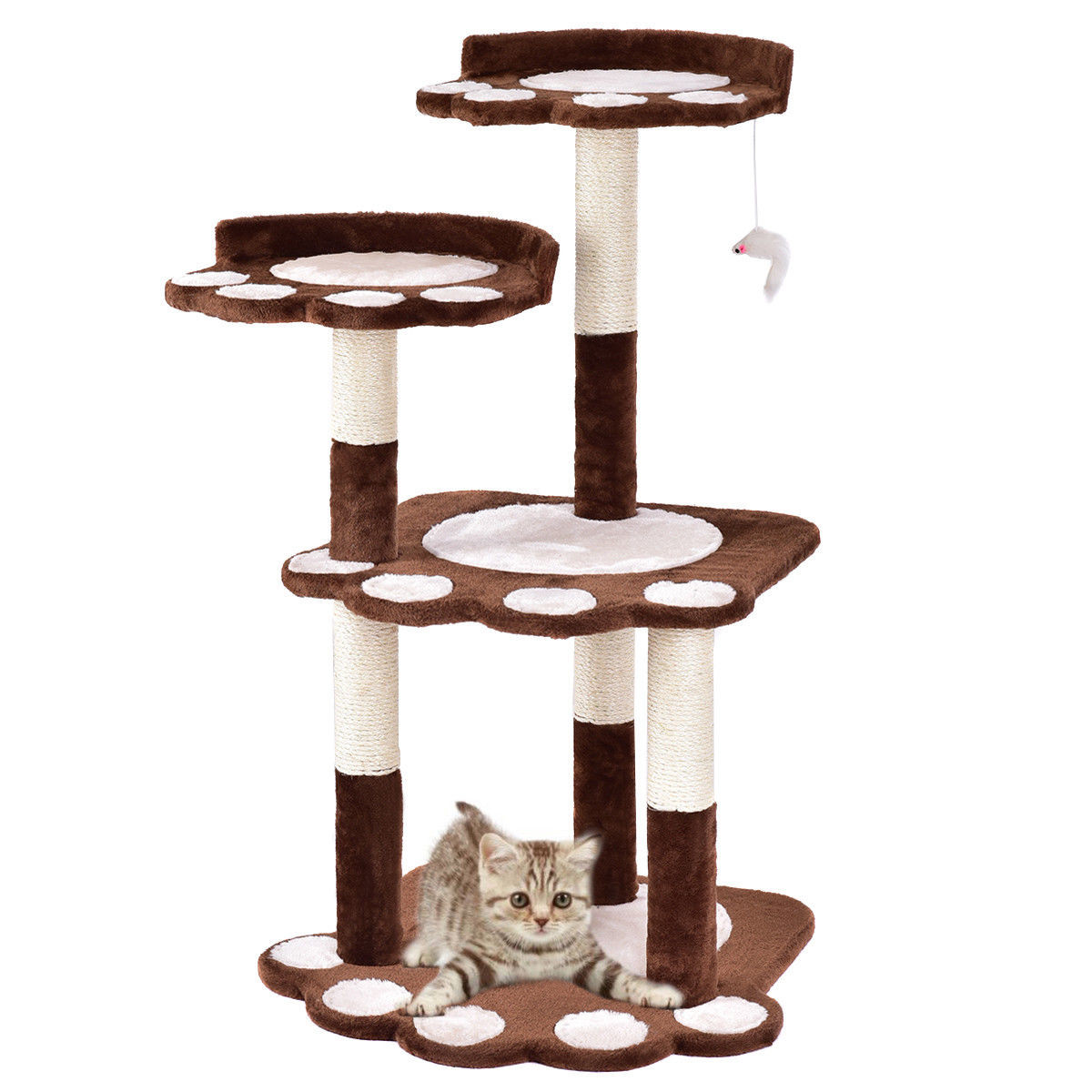"42"" Cat Tree Kitten Pet Furniture Multi-level Climb Scratching Posts Paw Brown by"