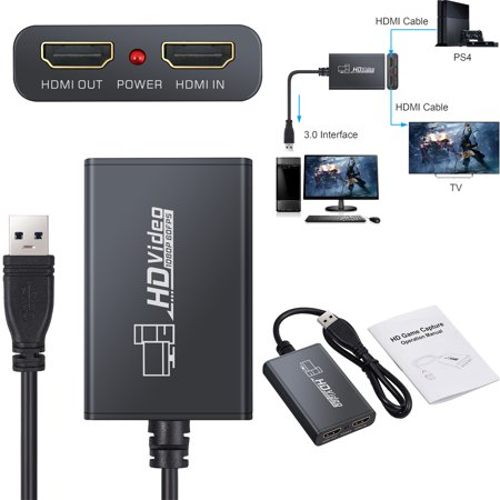 ESYNIC HD 1080P HDMI to USB 3 0 Video High Speed Capture Card For Windows  Laptops for Windows 7, 8, 10, Mac OS X 10 9 or more Linux