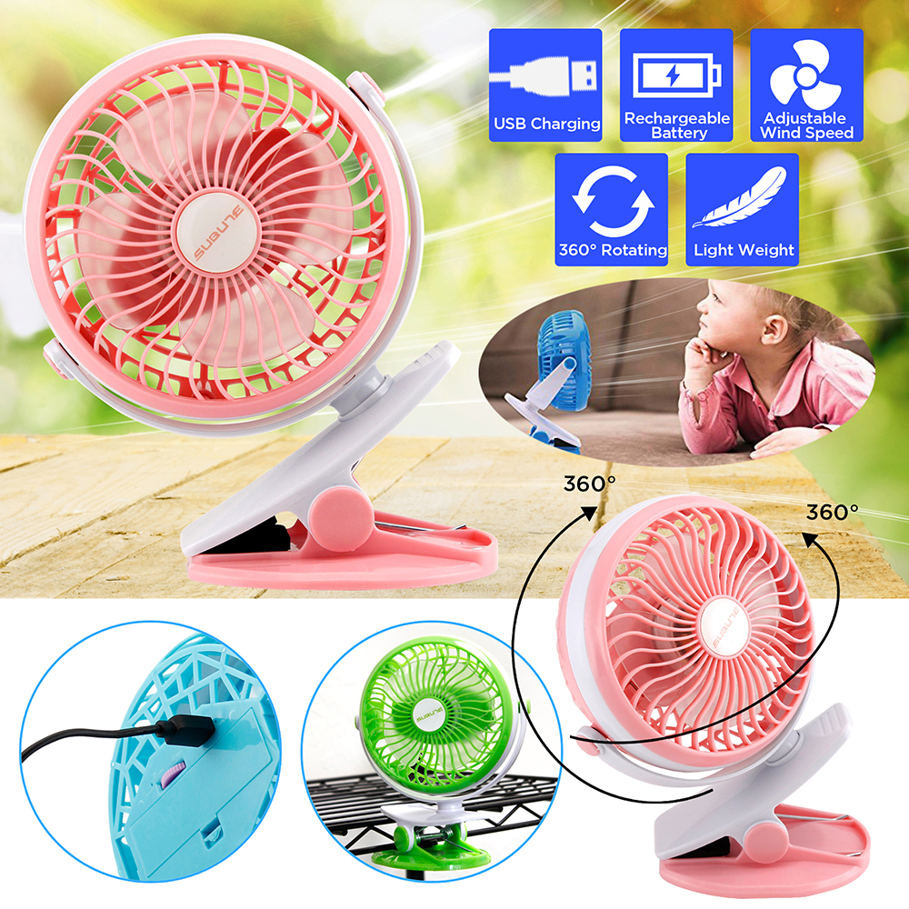 Portable Fan Rechargeable Battery USB Mini Rotation Clip On for Baby Stroller Car Camping Desk