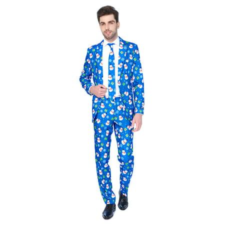 Blue Santa Suit (Suitmeister Men's Christmas Blue Snowman Christmas)